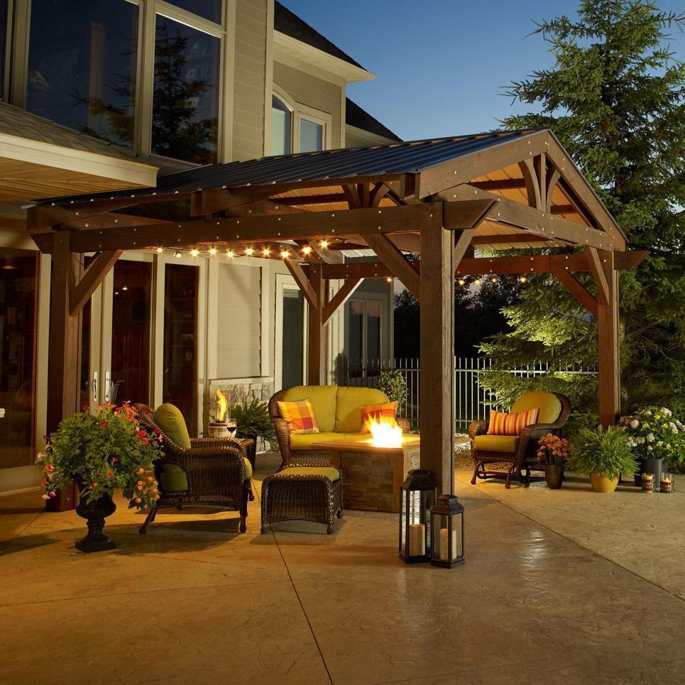 Metal Roof ... - Metal Roof For Lodge II 14 X 14 Foot Wood Pergola - Outdoor Florida